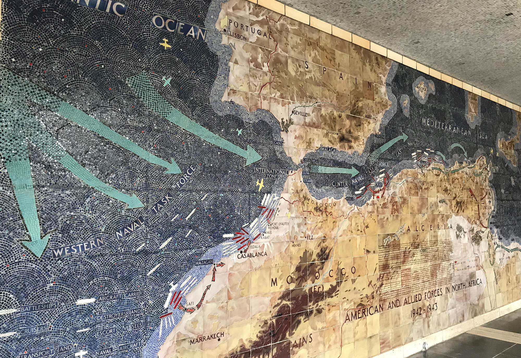 Open-Air Map Room with Mosaic Depiction of North African Campaign