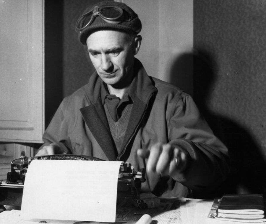 Ernie Pyle types out a story in Anzio, Italy